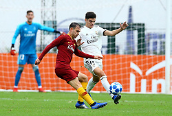 November 27, 2018 - Rome, Italy - AS Roma - FC Real Madrid : UEFA Youth League Group G .Alessio Riccardi of Roma and Miguel Gutierrez of Real Madrid at Tre Fontane Stadium in Rome, Italy on November 27, 2018. (Credit Image: © Matteo Ciambelli/NurPhoto via ZUMA Press)