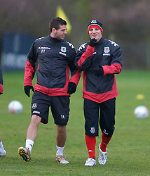 CHESTER, ENGLAND - Monday, February 4, 2008: Wales' Jason Koumas (R) and Joe Ledley (L) during training at the Carden Park Hotel ahead of their friendly match against Norway. (Photo by David Rawcliffe/Propaganda)
