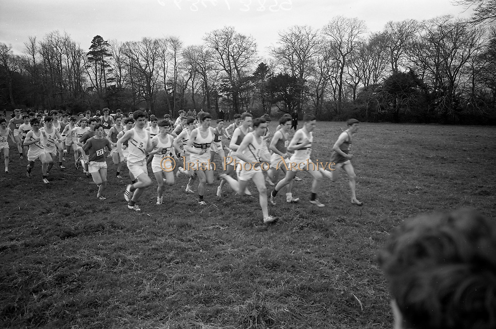 23/03/1966<br /> 03/23/1966<br /> 23 March 1966<br /> All Ireland Colleges Cross Country Championships held at Belfield, Dublin. The mass start of the Intermediate All Ireland Colleges Cross Country Championships race.