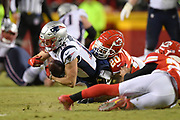 Jan 20, 2019; Kansas City, MO, USA; New England Patriots wide receiver Chris Hogan (15) is tackled by Kansas City Chiefs cornerback Steven Nelson (20) during the AFC Championship game at Arrowhead Stadium. The Patriots defeated the Chiefs 37-31 in overtime to advance to their fifth Super Bowl in eight seasons. (Robin Alam/Image of Sport)