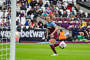 Kate Longhurst (West Ham) goes for the ball during the FA Women's Super League match between West Ham United Women and Tottenham Hotspur Women at the London Stadium, London, England on 29 September 2019.