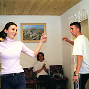 Traditional kosovo dances in a home in Mitrovice.