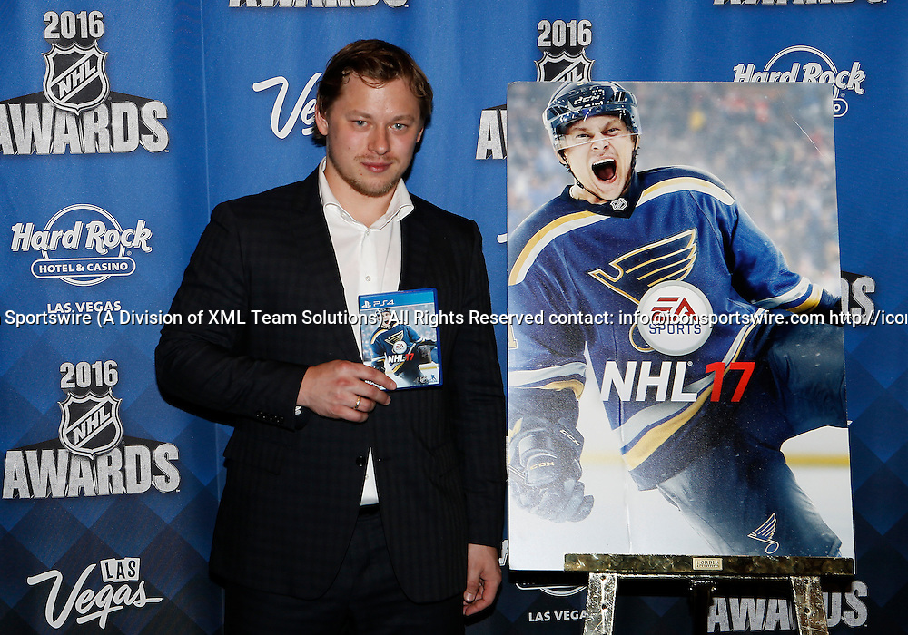 2016 June 22: St. Louis Blues right winger Vladimir Tarasenko poses for a photograph after being named the EA NHL 17 Cover Althete during the 2016 NHL Awards at the Hard Rock Hotel and Casino in Las Vegas, Nevada. (Photo by Marc Sanchez/Icon Sportswire)