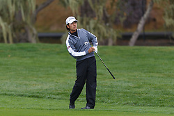 Feb 11, 2012; Pebble Beach CA, USA; Kevin Na after his second swing on the third hole during the third round of the AT&T Pebble Beach Pro-Am at Pebble Beach Golf Links. Mandatory Credit: Jason O. Watson-US PRESSWIRE