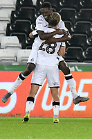 Football - 2019 / 2020 EFL Carabao (League) Cup - Second Round: Swansea City vs. Cambridge United<br /> <br /> Jordan Garrick of Swansea City celebrates scoring his team's fourth goal with George Byers of Swansea City, at Liberty Stadium.<br /> <br /> COLORSPORT/WINSTON BYNORTH
