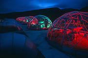 Ventilated hemispherical glasshouse Solardomes replicate global warming for plants with CO2 levels experiment