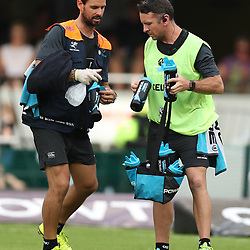 DR Alan Kourie of the Cell C Sharks with Johan Pretorius Head Strength & Conditioning Coach of the Cell C Sharks  during the Super Rugby match between the Cell C Sharks and the Western Force at Growthpoint Kings Park on May 06, 2017 in Durban, South Africa. (Photo by Steve Haag)