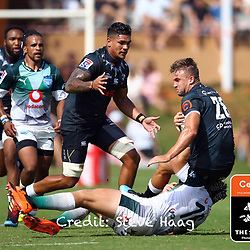 Johan Grobbelaar of the Vodacom Bulls tackling Jeremy Ward of the Cell C Sharks during The Cell C Sharks warm up match with the  Vodacom Bulls, at Ashton International College Albertina Way, Dolphin Coast  Ballito - Kwazulu- Natal, South Africa 9th February 2019 (Photo by Steve Haag)