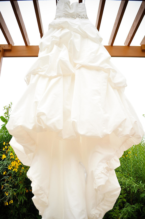 Michelle's wedding dress at Holy Spirit Community Church in Naperville, IL