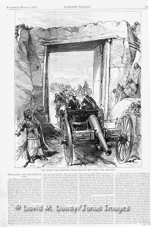 British in Afghanistan 1879 horse-drawn Artillery passing through the Cabool gate in Jelalabad Harper's Weekly March 8, 1879 page 193