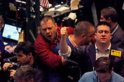 Traders on the trading floor of the NYMEX New York Mercantile Exchange. These traders are buying and selling in oil and natural gas options.