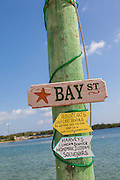 Street sign in the village of New Plymouth, Green Turtle Cay, Bahamas.