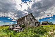 Alberta Antique Truck and Old Barns on Canadian Prairies, Alberta