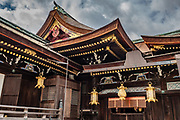 Kitano Tenmangu Shrine is dedicated to Sugawara Michizane, a scholar and politician who was unfairly exiled by his political rivals. A number of disasters were attributed to Michizane's vengeful spirit after his death in exile, and these shrines were built to appease him. Kyoto, Japan.