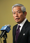 Yukio Takasu, Permanent Representative of Japan to the United Nations, speaking to correspondents at the Security Council stakeout following the unanimous adoption by the Council of resolution 1890 (2009) extending the mandate of the International Security Force (ISAF) for 12 months beyond 13 October 2009.