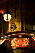 Bar du Marché sign, Rue de Seine, Left Bank, typical Paris, France