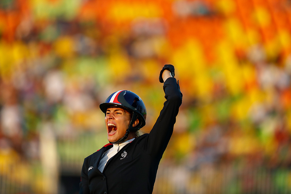 Elodie Clouvel from France riding horse Meteoro reacts after her round on her way to winning the silver medal of the Rio 2016 Olympic Games Women's Modern Pentathlon events in Rio de Janeiro, Brazil, 19 August 2016.