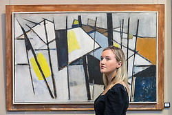 Royan Harbour, a newly discovered painting by the Scottish colourist painter Samuel Peploe, leads the items in Bonhams next Scottish Art Sale. Royan Harbour, which is estimated at £70,000-100,000, was first owned by Mme Marie Marguerite Soulie, who was married to the English novelist and playwright Arnold Bennett from 1917-1921. Its whereabouts have been unknown to scholars until now. <br /> <br /> Pictured: Black, White and Yellow by Wilhelmina Barbs-Graham which will be part of the sale