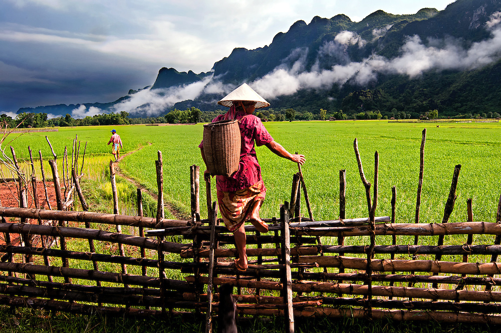 A rice farmer at Tham Lot Khong Lo, Laos.
