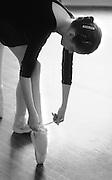 Ballet Class-Tying Slippers --Ballet Guild of the Lehigh Valley dance studio, Main Street, Bethlehem,PA. April13, 1980.