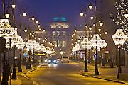 03.12.2008 Warsaw, Krakowskie Przedmiescie street, christmas illumination, Polish Academy of Sciences in background. Fot  Piotr Gesicki Gesicki