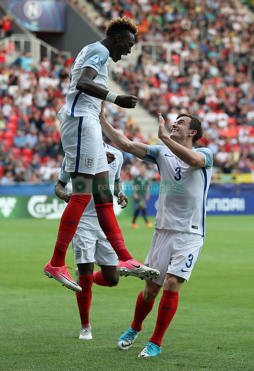 England's Tammy Abraham celebrates scoring his side's second goal of the game during the UEFA European Under-21 Championship, Semi Final match at Stadion Miejski, Tychy.