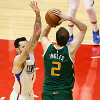25 April 2017: Utah Jazz forward Joe Ingles (2) takes a jump shot over LA Clippers guard JJ Redick (4) during the Utah Jazz 96-92 victory over the Los Angeles Clippers, during game 5 of the first round of the Western Conference playoffs, at the Staples Center, Los Angeles, California, USA.