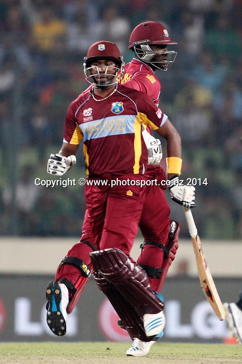 Darren Sammy and Dwayne Bravo - Pakistan v West Indies, Shere Bangla National Stadium, Mirpur, Bangladesh. 1 April 2014. Photo: www.photosport.co.nz