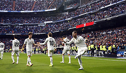 November 3, 2018 - Madrid, Madrid, Spain - Sergio Ramos (Real Madrid) seen celebrating after scoring a goal during the La Liga match between Real Madrid and Real Valladolid at the Estadio Santiago Bernabéu..Final score Real Madrid 2-0 Valladolid. (Credit Image: © Manu Reino/SOPA Images via ZUMA Wire)