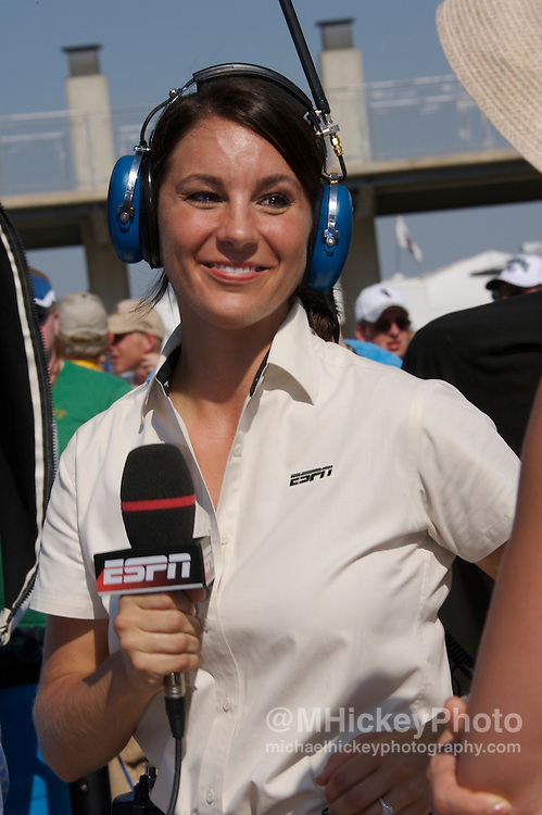 ESPN pit reporter Brienne Pedigo seen in the pits of the Indy 500. Photo by Michael Hickey