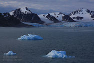 Small chunks of glacial ice float in Smeerenburgfjorden near glacier on the north coast of Spitsbergen island; Svalbard, Norway.