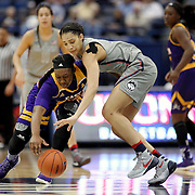 HARTFORD, CONNECTICUT- JANUARY 4:  Gabby Williams #15 of the Connecticut Huskies challenges for a loose ball with Gabrielle Holston #40 of the East Carolina Lady Pirates in action during the UConn Huskies Vs East Carolina Pirates, NCAA Women's Basketball game on January 4th, 2017 at the XL Center, Hartford, Connecticut. (Photo by Tim Clayton/Corbis via Getty Images)
