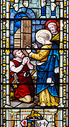 Stained glass window East Bergholt church, Suffolk, England, UK,  biblical scenes c 1865 by Lavers, Barraud and Westlake