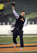 Cincinnati Bengals quarterback AJ McCarron (5) grimaces as he throws a pass before the NFL AFC Wild Card playoff football game against the Pittsburgh Steelers on Saturday, Jan. 9, 2016 in Cincinnati. The Steelers won the game 18-16. (©Paul Anthony Spinelli)