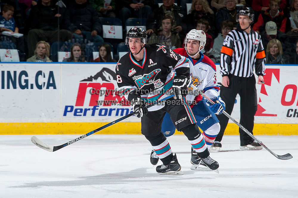 KELOWNA, CANADA - NOVEMBER 20: Joe Gatenby #28 of Kelowna Rockets is back checked by Kole Gable #34 of Edmonton Oil Kings on November 20, 2015 at Prospera Place in Kelowna, British Columbia, Canada.  (Photo by Marissa Baecker/Getty Images)  *** Local Caption *** Joe Gatenby; Kole Gable;