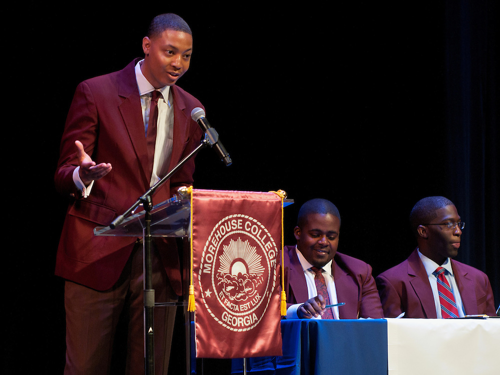 More Than A Game: Chris Fortson speaks during the Mordecai Wyatt Johnson-Benjamin Elijah Mays Student Debate held at Howard University on Friday as part of the AT&T Nation's Football Classic.(Photo by Alan Lessig)