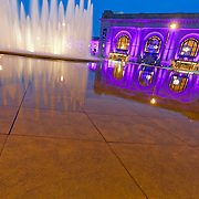 Fountain in front of Kansas City's Union Station at dusk, 2013.