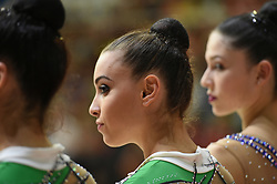 July 28, 2018 - Chieti, Abruzzo, Italy - Rhythmic gymnast Alessia Maurelli of Italy during the Rhythmic Gymnastics pre World Championship Italy-Ukraine-Germany at Palatricalle on 29th of July 2018 in Chieti Italy. (Credit Image: © Franco Romano/NurPhoto via ZUMA Press)
