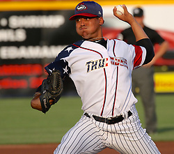 July 5, 2017 - Trenton, New Jersey, U.S - Trenton Thunder pitcher JUSTUS SHEFFIELD was the starting pitcher in the game tonight vs, the Fightin Phils in ARM & HAMMER Park. (Credit Image: © Staton Rabin via ZUMA Wire)