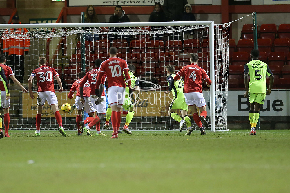 Exeter captain Jordan Moore Taylor scores an equaliser for Exeter in time added on during the EFL Sky Bet League 2 match between Crewe Alexandra and Exeter City at Alexandra Stadium, Crewe, England on 20 February 2018. Picture by Graham Holt.
