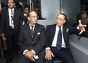 DUBAI,2002.<br /> Abdul Satar(left) minister for Foreign Affairs, Government of Pakistan travels in a bus with M.Morshed Khan, minister for Foreign Affairs, Government of the Peoples Republic of Bangadesh at Dubai International Airport.