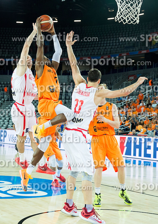 Duda Sanadze of Georgia vs Charlon Kloof of Netherlands during basketball match between Georgia and Netherlands at Day 1 in Group C of FIBA Europe Eurobasket 2015, on September 5, 2015, in Arena Zagreb, Croatia. Photo by Vid Ponikvar / Sportida
