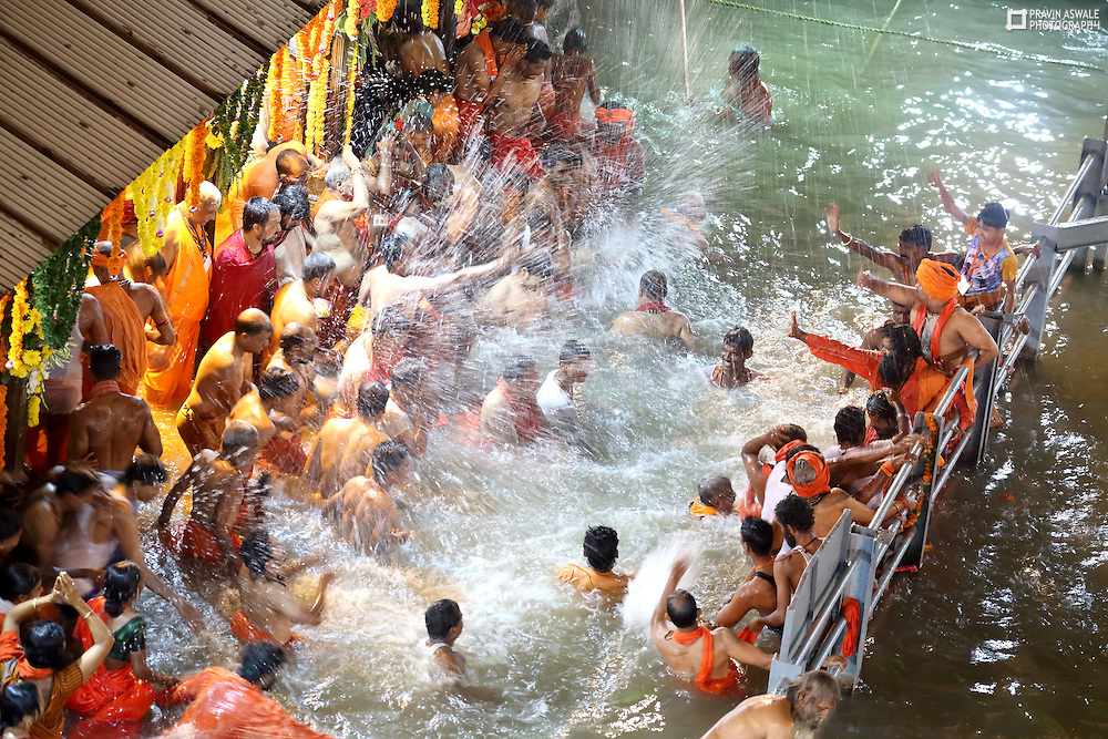 On the Fourth Kumbhmela Royal Bathing Day, here at kushavart, Trimbak India. Sadhus & Naga Sadhus  from all akharas enjoyed the last roayal bathing of the Kumbhmela.