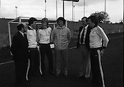 """Ireland Hockey Team.    (N65)..1981..15.03.1981..03.15.1981..15th March 1981..Prior to their forthcoming International against Poland, The Ireland team were kitted out in a full set of Addidas Gear by the """"Great Outdoors""""camping shops.""""Great Outdoors"""" have outlets in Dublin, Cork and Galway...Image shows (L-R), Mr Chic Doyle, Director, Great Outdoors; Ian O'Keefe, Cork Harlequins; James Kirkwood,Queens University; Joey O'Meara, Ireland Coach; John O'Keefe, Managing Director, Great Outdoors and Tommy Allen, Monkstown."""