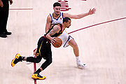 Jun 6, 2018; Cleveland, OH, USA; Cleveland Cavaliers guard George Hill (3) drives to the basket against Golden State Warriors guard Klay Thompson (11) during the first quarter in game three of the 2018 NBA Finals at Quicken Loans Arena.