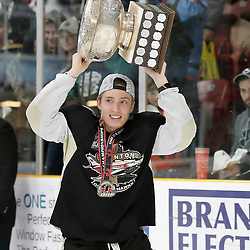 TRENTON, ON  - MAY 6,  2017: Canadian Junior Hockey League, Central Canadian Jr. &quot;A&quot; Championship. The Dudley Hewitt Cup Championship Game between The Trenton Golden Hawks and The Georgetown Raiders. Jordan Chard #11 of the Trenton Golden Hawks during post game celebrations. <br /> (Photo by Amy Deroche / OJHL Images)