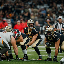 Sep 9, 2018; New Orleans, LA, USA; New Orleans Saints quarterback Drew Brees (9) at the line against the Tampa Bay Buccaneers during the first quarter of a game at the Mercedes-Benz Superdome. Mandatory Credit: Derick E. Hingle-USA TODAY Sports