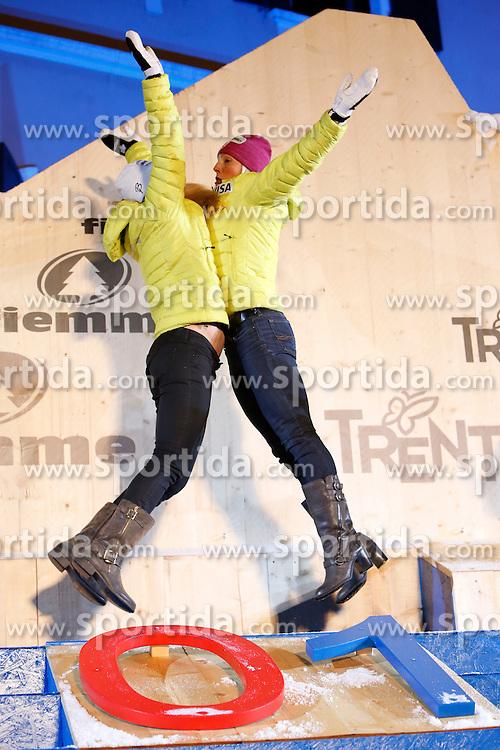 24.02.2013, Piazza dei Campioni, Cavalese, ITA, FIS Weltmeisterschaften Ski Nordisch, Langlauf Damen, Team Sprint, Siegerehrung, im Bild m Bild Diggins Jessica and Randall Kikkan (USA) // Diggins Jessica and Randall Kikkan from USA at the Winner Award Ceremony for the Ladies Cross Country Team Sprint of the FIS Nordic Ski World Championships 2013 at the Piazza dei Campioni, Cavalese, Italy on 2013/02/24. EXPA Pictures ©  2013, PhotoCredit: EXPA/ Federico Modica