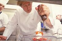 Chef Pierre Gagnaire in his kitchen in Paris