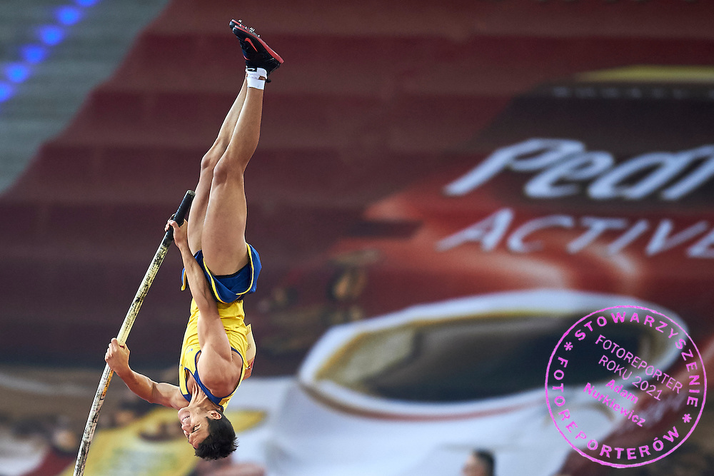 Augusto Dutra da Silva de Oliveira from Brazil competes in men's pole vault competition during athletics meeting Pedro's Cup at Atlas Arena in Lodz, Poland.<br /> <br /> Poland, Lodz, February 17, 2015<br /> <br /> Picture also available in RAW (NEF) or TIFF format on special request.<br /> <br /> For editorial use only. Any commercial or promotional use requires permission.<br /> <br /> Adam Nurkiewicz declares that he has no rights to the image of people at the photographs of his authorship.<br /> <br /> Mandatory credit:<br /> Photo by &copy; Adam Nurkiewicz / Mediasport